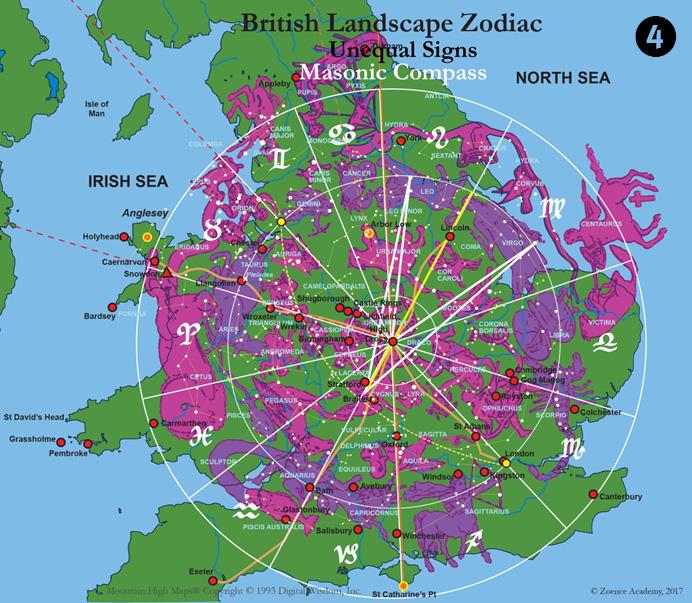 British landscape zodiac masonic compass
